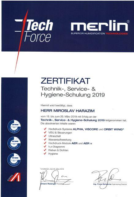 Merlin certifikát Miroslav Harazim